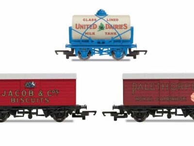Hornby R6991 'Retro' Wagons, three pack, United Dairies Tanker, Jacob's Biscuits, Palethorpes